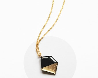 black and gold necklace long gold necklace gold dipped necklace geometric necklace upcycled vinyl necklace small necklace modern necklace