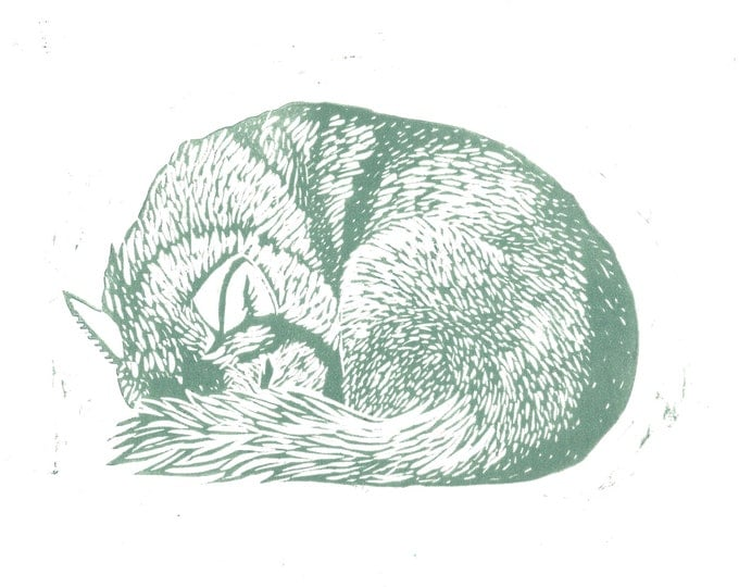 Husky Wolf Sleeping Original Linocut Block Print Grey Blue
