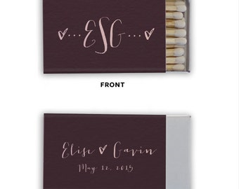 Personalized Monogram Match Boxes, Min of 50 - Favors, Party Favors, Custom Matches, Foil Stamped Match Box Favors