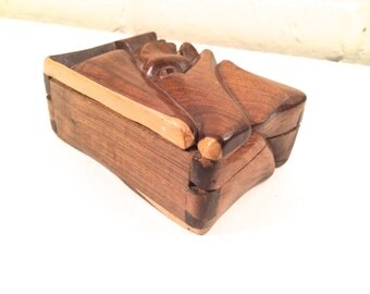 Vintage Tribal Carved Wooden Face Box | Folk Art Hand Carved Box | Jewelry Box