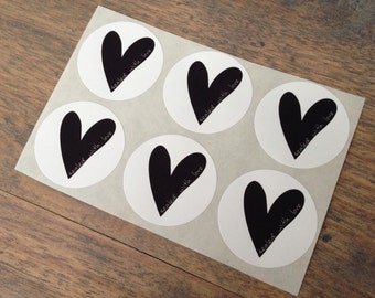 Stickers (6 pieces) 3,8 cm Sealed with love (D04)