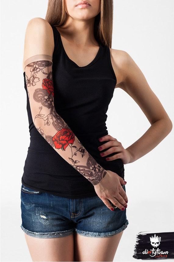 Unisex roses flowers mesh tattoo sleeve temporary tattoo for Fake tattoos sleeves