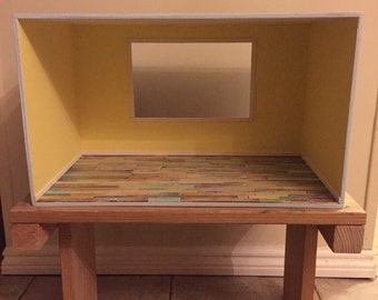 """Empty room box /diorama with colorfully distressed wood flooring and large center window for 4"""" ~ 5.5"""" dolls."""