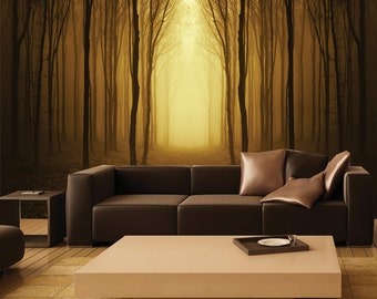 mural mystical forest wall pap er self adhesive wall covering peel. Black Bedroom Furniture Sets. Home Design Ideas
