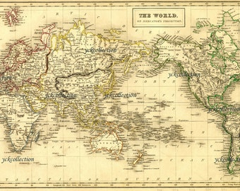 High resolution map etsy antique world map 8 x 10 to 28 x 42 vintage gumiabroncs Image collections