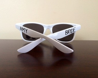 Wayfarer Sunglasses with Name on One Side and Bride on Other - your choice of vinyl colors!