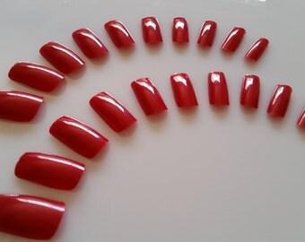 20 Red Nails - Press on Nails - Glue on Nails - Red Goth Vampire Nails - Medium Long Nails - Halloween Nails