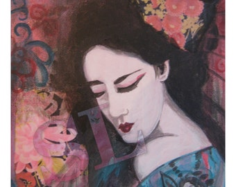 Geisha with Turquoise Kimono ~ Print from original multi-media painting by Samantha Louise