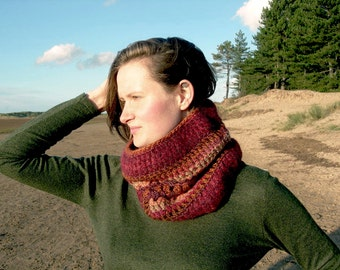 Crocheted kid mohair & wool rich cowl