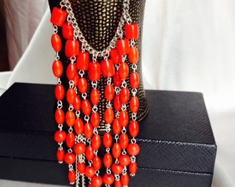 Red coral necklace, Red  necklace, Red corals, OlgasUniqueJewelry, Gift for her