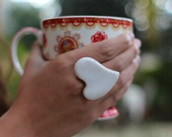 White heart ring Ceramic jewelry Heart ring Ceramic ring White ring Valentine's day gift