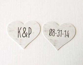 Birch Tree Heart Shaped Wedding Confetti, Bridal Shower Confetti, Initials & Wedding Date Confetti, Wedding Table Decor