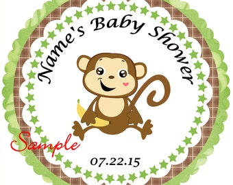 Brown and Green Heart Monkey Personalized Stickers - Favor Labels, Party Favor Stickers, Birthday Stickers, Baby Shower