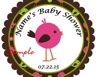 Pink Bird Personalized Stickers - Favor Labels, Party Favor Stickers, Birthday Stickers, Baby Shower