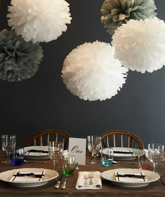5 large tissue paper pom poms set wedding decorations. Black Bedroom Furniture Sets. Home Design Ideas