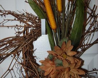 Fall Cattail Wreath (Twig or Wood wreath)