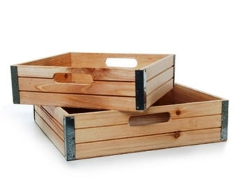 Wooden Hamper Crates - Set of 2 Gift Baskets / Boxes - 35 x 35 x 9cms + Smaller Size - Crate Set