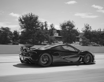 Mclaren P1 Right Rear Motion Black And White HD Poster Hyper Car Print