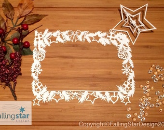 Customise Christmas wreath picture frame Pillow Papercutting Template Hand made