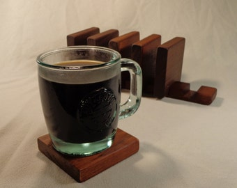 Reclaimed Brazilian Walnut Six Drink Coaster Set With Display Holder