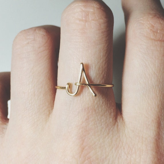 Custom Initial ring letter ring gold silver knuckle ring midi
