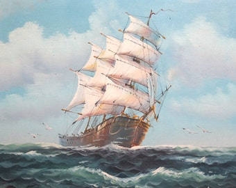 Vintage Bulgarian oil painting sailing ship seascape