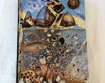 Original Mixed Media Fish and Shell Collage