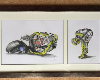 Valentino Rossi Fine Art Limited Edition (95off) Framed Giclee Prints.