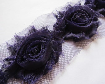 Shabby Flower -  Wholesale Shabby Chic Flower - Shabby  Chiffon Flower by the Yard - Purple Shabby Flower