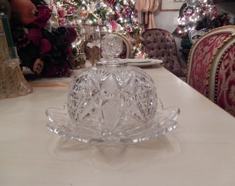 CRYSTAL BUTTER DISH with Lid