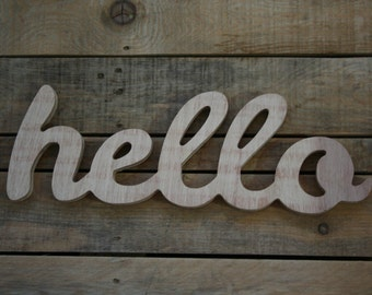 HELLO wooden sign, home decor, word, handwritten, typography, woodworking, wood sign, hello, Perfect gift // St Valentine Gift