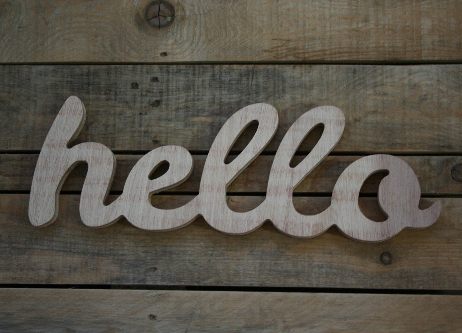 HELLO Wooden Sign Home Decor Word Handwritten By AnkaSupplyCo