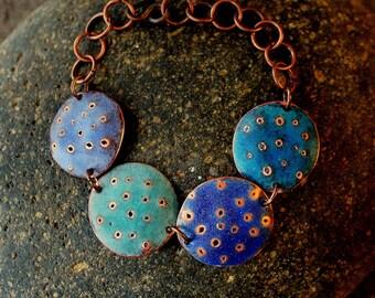 matte blue/aqua enamel and copper bracelet