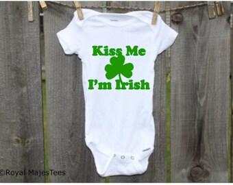 Kiss Me I'm Irish Onesies®, Irish Baby, Irish Toddler Shirt, St. Patricks Day, St Pattys Day, Irish Shirt, Shamrock Shirt