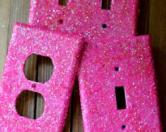Decorative Hot Pink Glitter Lightswitch (Light Switch) plate & Outlet Cover