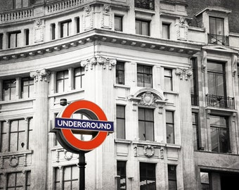 London Photography, Black and White, Underground Sign, Tube, Sign, Fine Art Print, Travel Photo, British Decor, Red, Wall Art, Home Decor