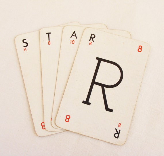 playing cards with letters