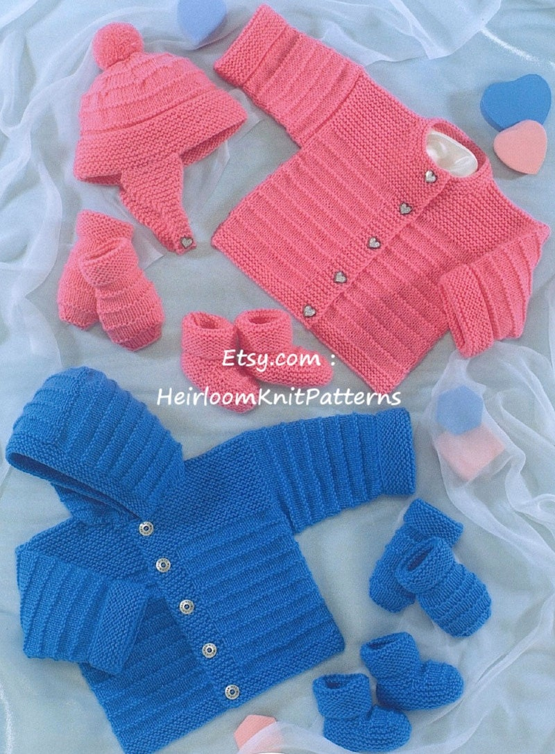Knitting Pattern Baby Hooded Jacket : Baby Knitting Pattern Easy Knit Baby Boy Girl Hooded Jacket