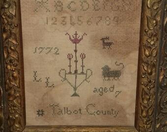 Talbot County primitive PDF cross stitch pattern instant download