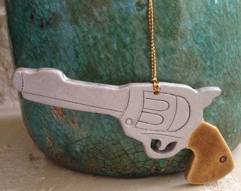 Handcrafted clay pistol ornament Pistol Christmas Ornament