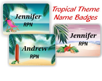 Magnetic Name Badge, Magnetic Name Tag, Aluminum Name Tag, Aluminum Name Badge, Name Tag, Name Badge, Tropical Name Tag, ID Tag- TROPICAL1
