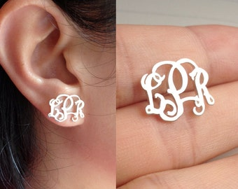 "Sterling Silver Monogram Earrings-Personalize Earings any initial Monogram Earings 0.6""inch %100 Handmade"