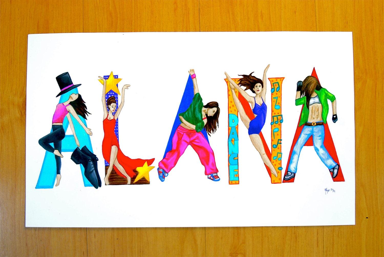 Name Art: Sweet Sixteen Birthday Custom Dance Name Art Personalized