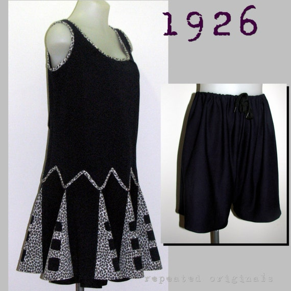 1920s Patterns – Vintage, Reproduction Sewing Patterns Ladys Pattern- 1926 2 Piece Swimming Costume Bathers Cossie. Togs  -  Vintage Reproduction PDF Pattern - 1920s - made from original 1926 pattern  AT vintagedancer.com