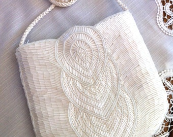 Gorgeous Beaded Handmade Bridal Wedding Shoulder Strap Evening Bag Purse Vtg New