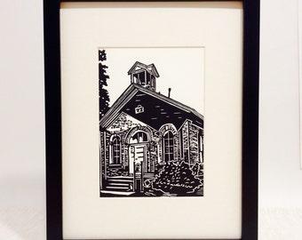 "Schoolhouse handmade linocut print 5x7"", unframed (white) - home decor, wall art, birthday gift, teacher gift, school art, made in Michigan"
