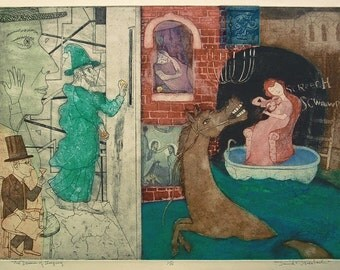 The Dream Of Sleeping: Large Surrealist Print Featuring A Violin Player In A Bathtub, A Magician, And Gold Leaf Details By David F Driesbach