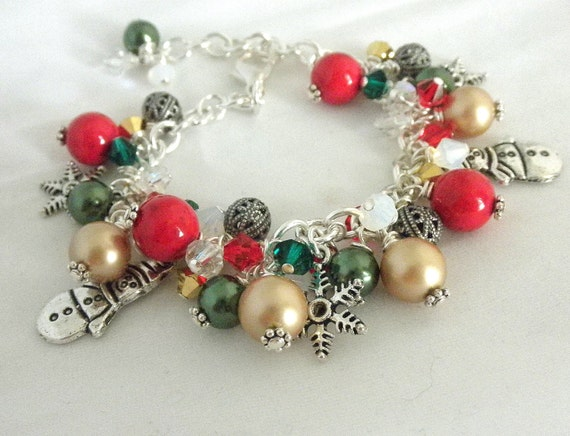 Festive  Christmas Bracelet  Adjustable Bracelet  Holiday Bracelet