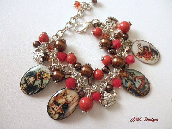 Alice in Wonderland Inspired Chunky Adjustable Charm Bracelet Gift-Red Coral and Chocolate Brown  Resin Cabochon Pendants