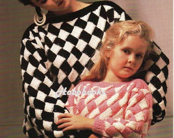 Ladies Knitting Pattern Ladies entrelac sweater Girls entrelac sweater entralac sweater pattern 22-44 inches chest  DK PDF instant download